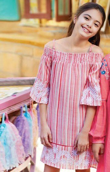 Global Desi | Coral Striped Dress