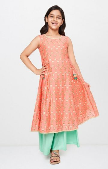 Global Desi | Pink Printed Suit Set