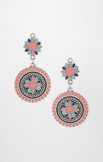 Global Desi | Peach Dangle and Drop Earrings