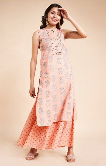Global Desi | Peach Printed Coordinate
