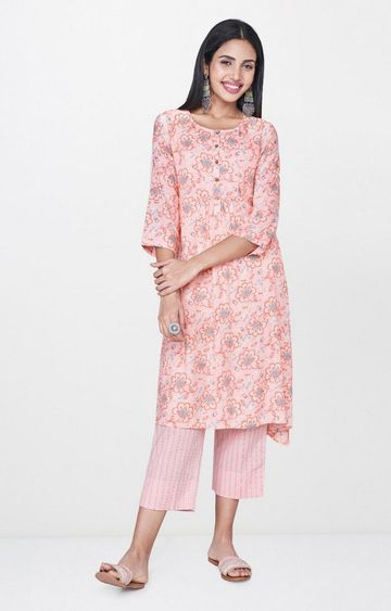 Global Desi | Peach Printed Asymmetric Kurta