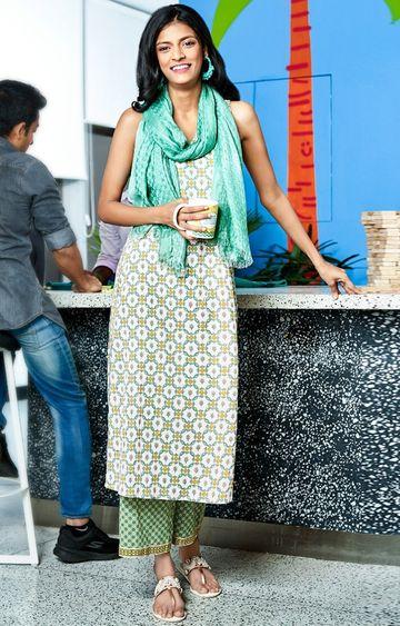 Global Desi | Sage Green Printed Palazzos