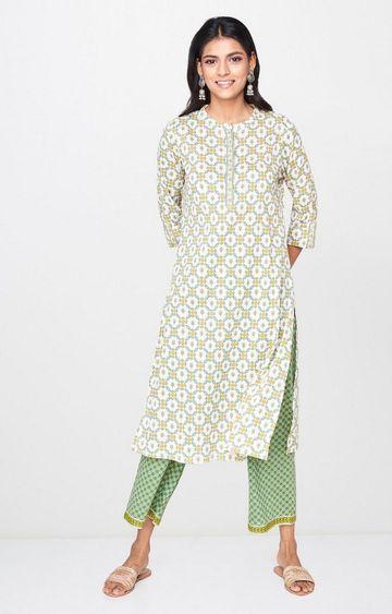 Global Desi | Off White Printed Kurta
