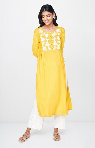 Global Desi | Mustard Embroidered Kurta