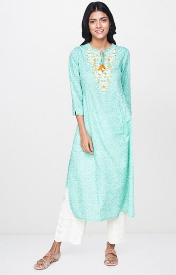 Global Desi | Green Embroidered Kurta