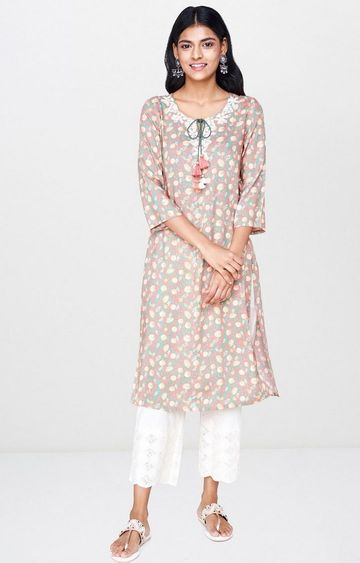 Global Desi | Green Printed Kurta