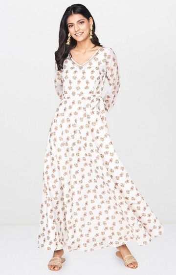 Global Desi | Off White Printed Maxi Dress
