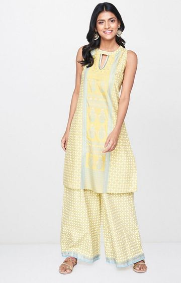 Global Desi | Yellow Printed Kurta & Palazzos