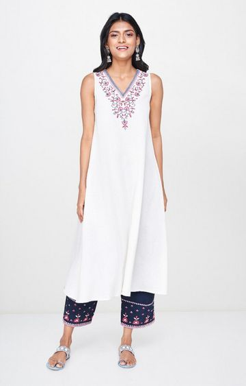Global Desi | White Embroidered Asymmetric Kurta