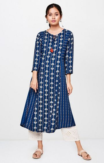Global Desi | Indigo Printed Kurta