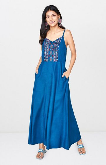 Global Desi | Teal Embroidered Maxi Dress