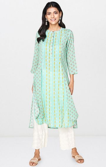 Global Desi | Mint Printed Kurta