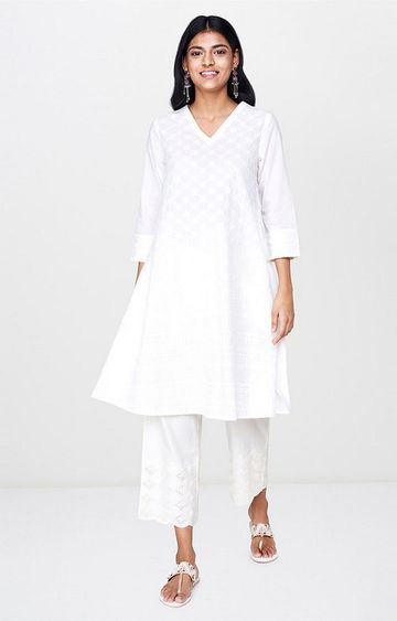 Global Desi | White Embroidered Regular Kurti