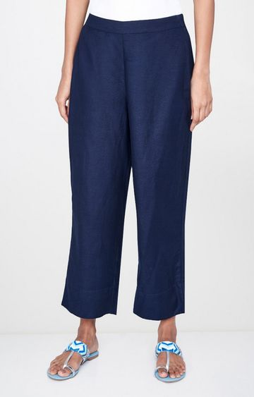 Global Desi | Navy Solid Palazzos