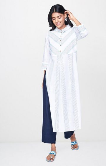 Global Desi | Blue Striped Kurta
