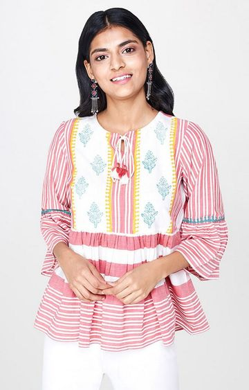 Global Desi | Red Striped Top