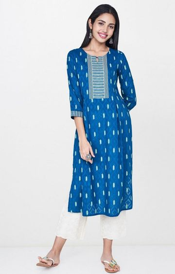 Global Desi | Teal Printed Kurta
