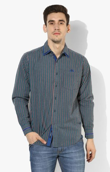 RED CHIEF | Green & Orange Striped Casual Shirt
