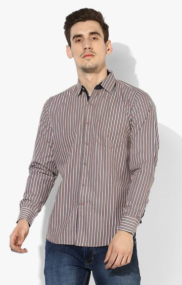 RED CHIEF | Peach Striped Casual Shirt