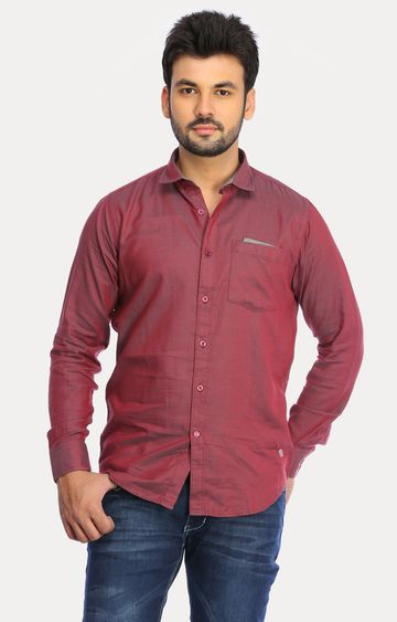 RED CHIEF   Maroon Solid Casual Shirt