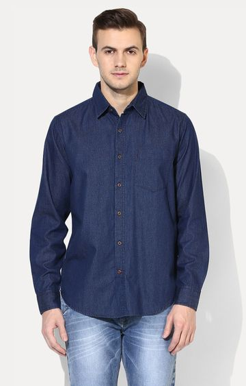 RED CHIEF   Blue Solid Casual Shirt