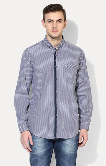 RED CHIEF | Grey Striped Casual Shirt