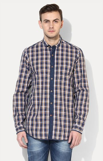 RED CHIEF   Navy Blue Checked Casual Shirt
