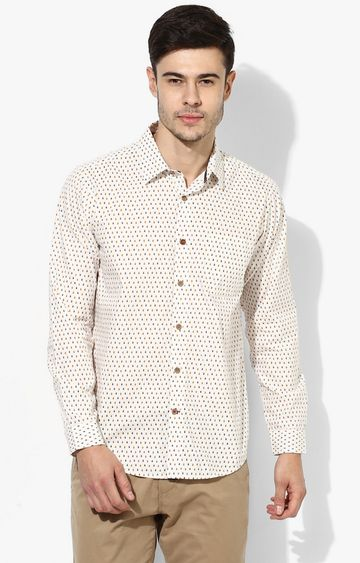 RED CHIEF | Cream Printed Casual Shirt