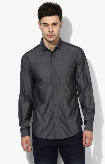 RED CHIEF | Dark Grey Solid Casual Shirt