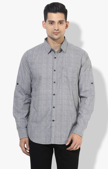 RED CHIEF | White & Grey Checked Casual Shirt
