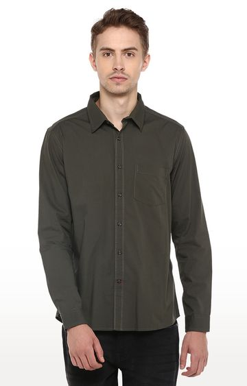 RED CHIEF | Olive Solid Smart Fit Casual Shirt