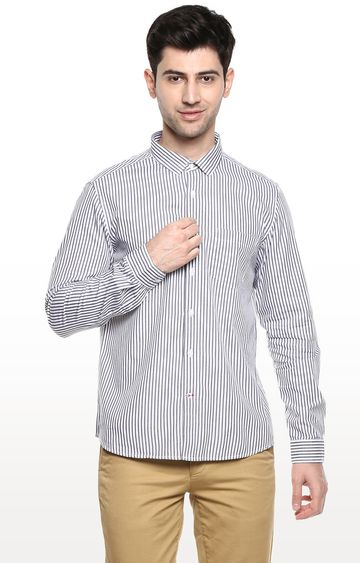 RED CHIEF | White & Gray Striped Casual Shirt