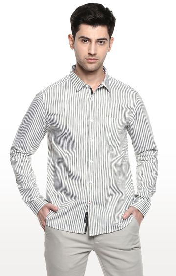 RED CHIEF | White & Olive Striped Casual Shirt