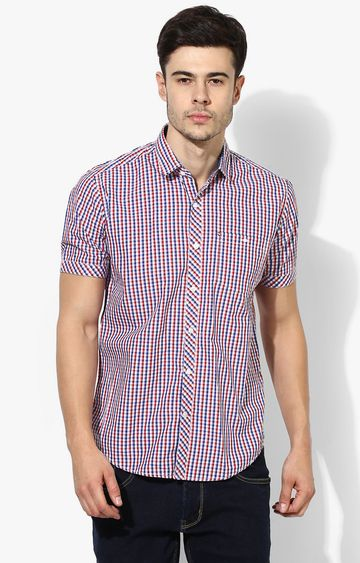 RED CHIEF   Red & Blue Checked Casual Shirt