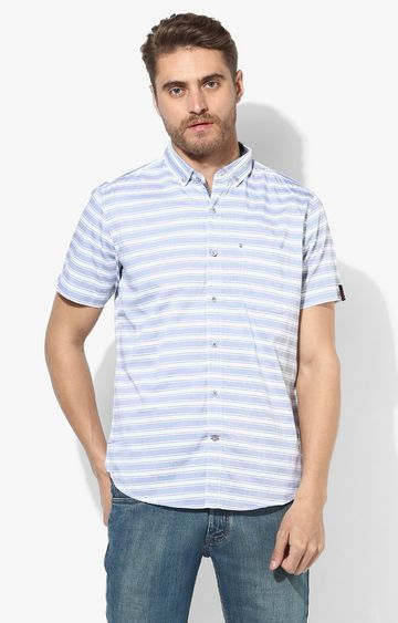 RED CHIEF | White & Blue Striped Casual Shirt