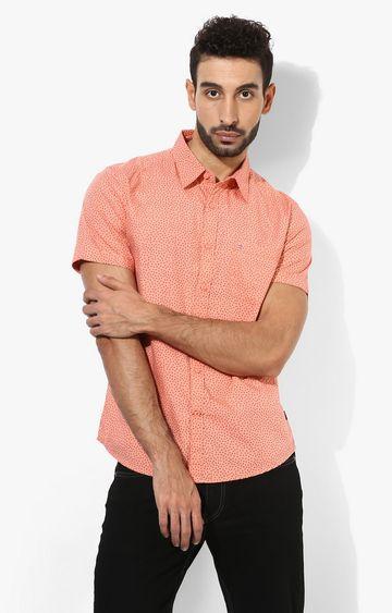 RED CHIEF | Peach Polka Dots Casual Shirt