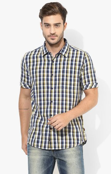 RED CHIEF | Navy Checked Casual Shirt