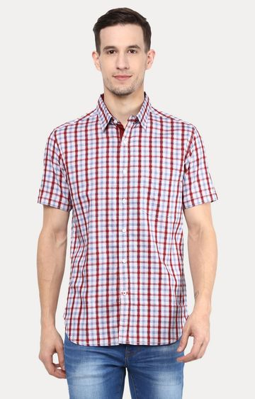 RED CHIEF   Maroon & Blue Checked Casual Shirt