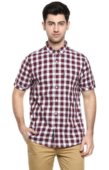 RED CHIEF | Maroon Checked Casual Shirt
