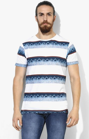 RED CHIEF | White and Blue and Brown Printed T-Shirt