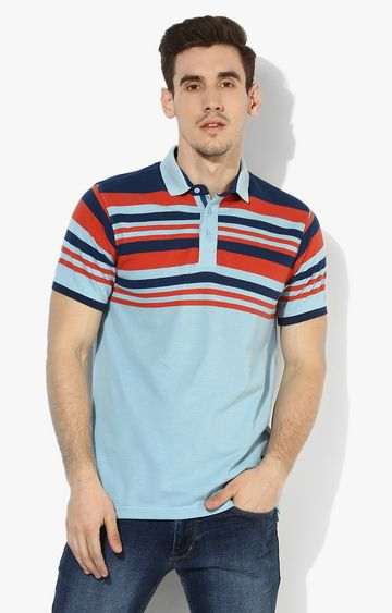 RED CHIEF   Blue & Red Striped Polo T-Shirt