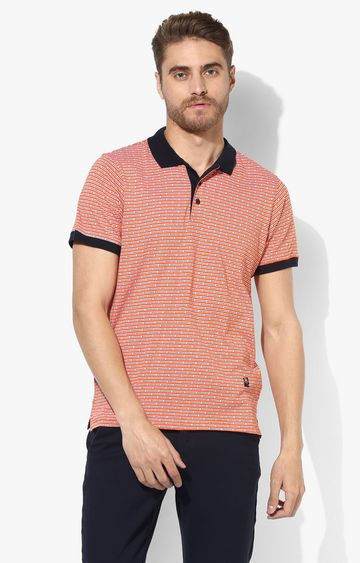 RED CHIEF | Orange and Black Striped Polo T-Shirt