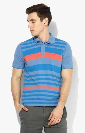 RED CHIEF   Blue Striped Polo T-Shirt