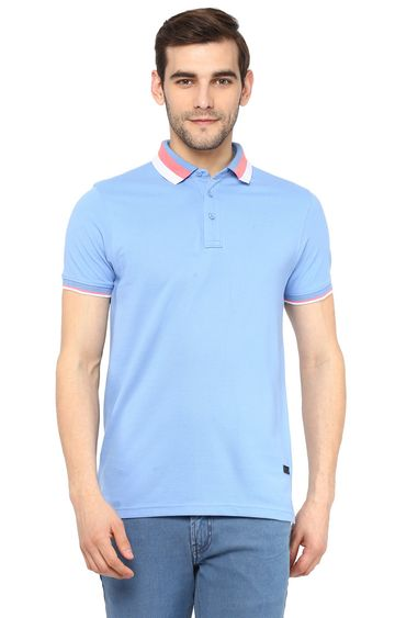 RED CHIEF   Blue Solid Polo T-Shirt