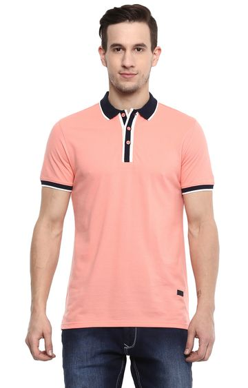 RED CHIEF | Peach Solid Polo T-Shirt