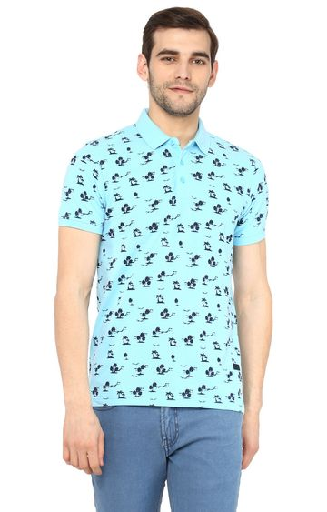 RED CHIEF   Blue Printed Polo T-Shirt