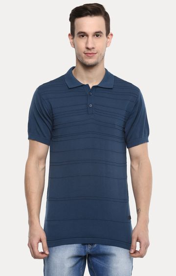 RED CHIEF | Blue Striped Polo T-Shirt