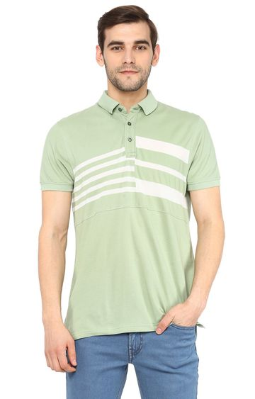 RED CHIEF | Green Striped Polo T-Shirt