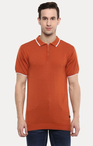 RED CHIEF | Orange Solid Polo T-Shirt