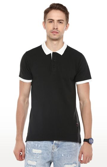 RED CHIEF | Black Solid Polo T-Shirt